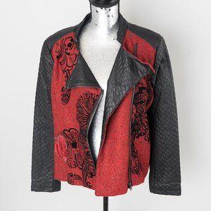 NWT Desigual fabric/faux leather moto - sz 10